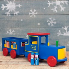 Wooden Toy Train with Passengers