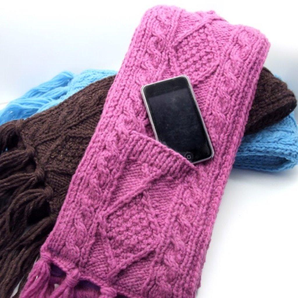Minga Imports Wool Cable Knit Pocket Scarf