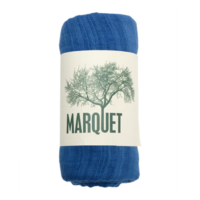 Marquet Fair Trade Worn Indigo Binh Minh Silk and Cotton Shawl