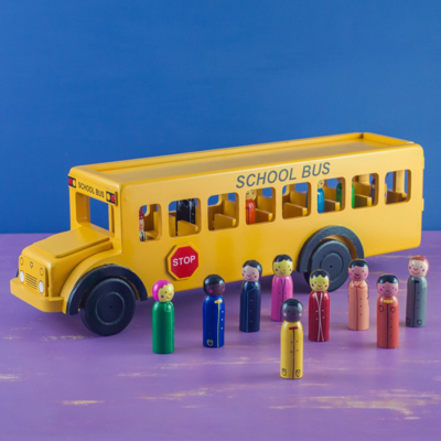 Mr Ellie Pooh Yellow School Bus Wooden Toy