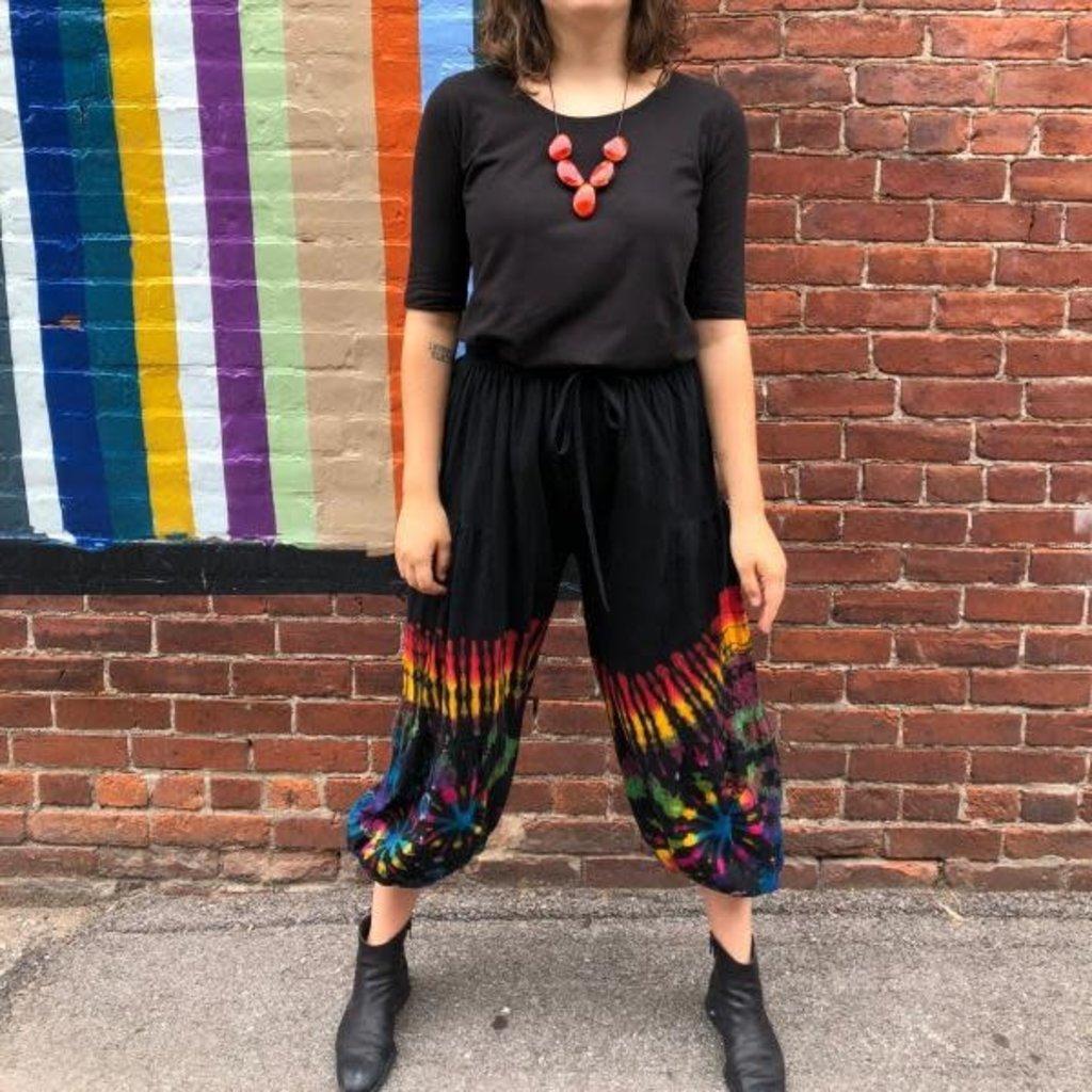 Unique Batik Cotton Tie Dye Balloon Lounge Pants: Rainbow