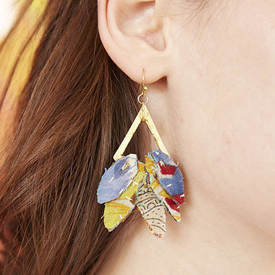 World Finds Kantha Leaf Drop Earrings
