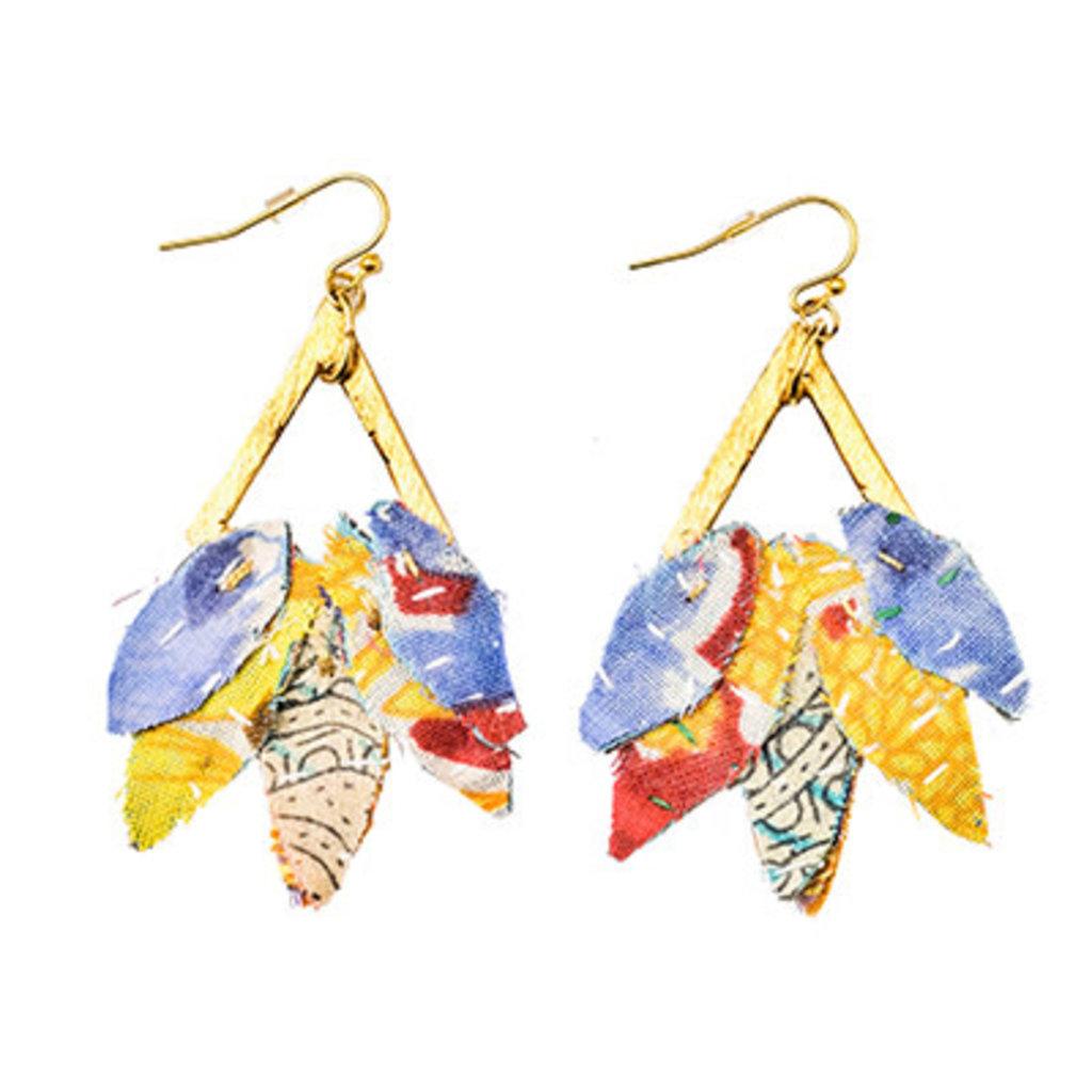 World Finds Kantha Leaf Drop Earrings