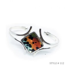 Silver Tree Designs Butterfly Wing Embracing Wing Cuff 112 Chrysiridia Rhipheus/Sunset Moth