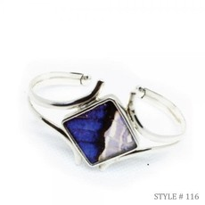 Silver Tree Designs Butterfly Wing Embracing Cuff Blue Morpho/Morpho Sulkowskyi