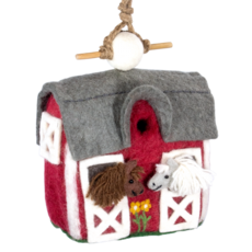 DZI Handmade Country Stable Wool Felt Birdhouse