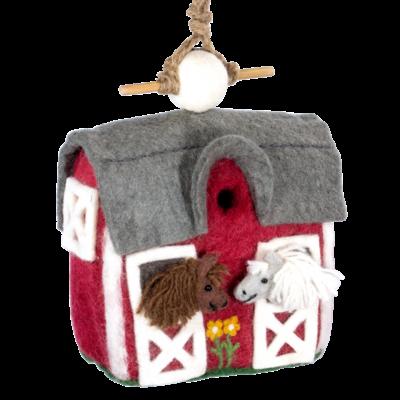 DZI Handmade Country Stable Felt Wool Birdhouse