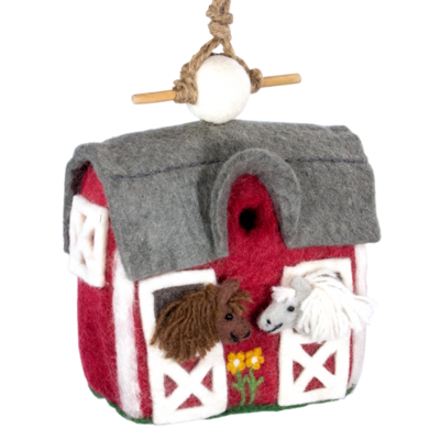DZI Handmade Country Stable Felt Wool Birdhouse