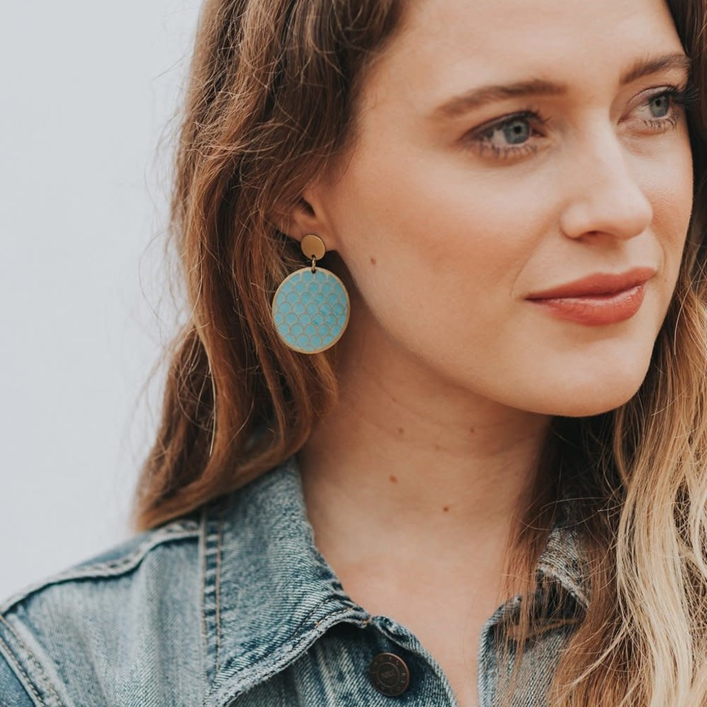 Matr Boomie Dhavala Teal Coin Earrings