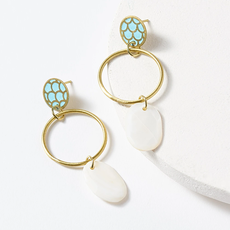 Matr Boomie Dhavala Teal Drop Earrings