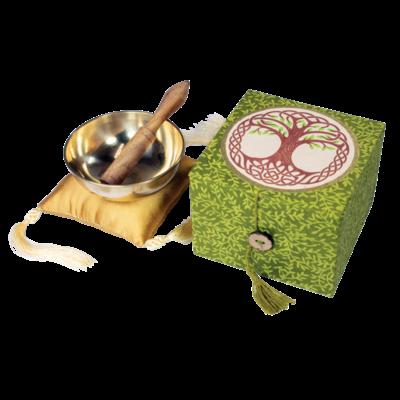 DZI Handmade Tree of Life Singing Bowl With Box