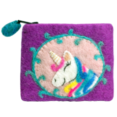 DZI Handmade Unicorn Felt Coin Purse