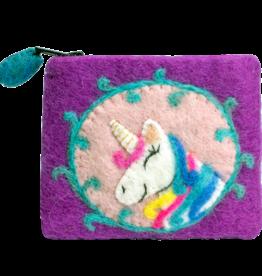 DZI Handmade Unicorn Felt Coin Purse