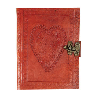 Ten Thousand Villages Leather Heart Journal