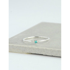 Fair Anita Tiny Triangle Silver Ring with Turquoise