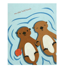 Good Paper Otter Hold Hands Love Card