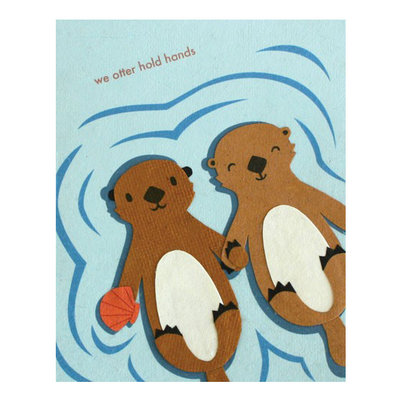 Good Paper Otter Hold Hands Handmade Paper Card