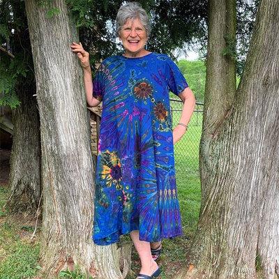 Unique Batik Short Sleeve Tie Dye Maxi Dress Plus Size Blue