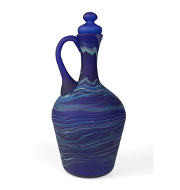Ten Thousand Villages Phoenician Blue Glass Decanter