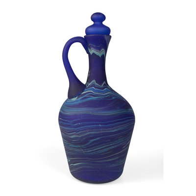 Ten Thousand Villages Phoenician Blue Glass Decanter