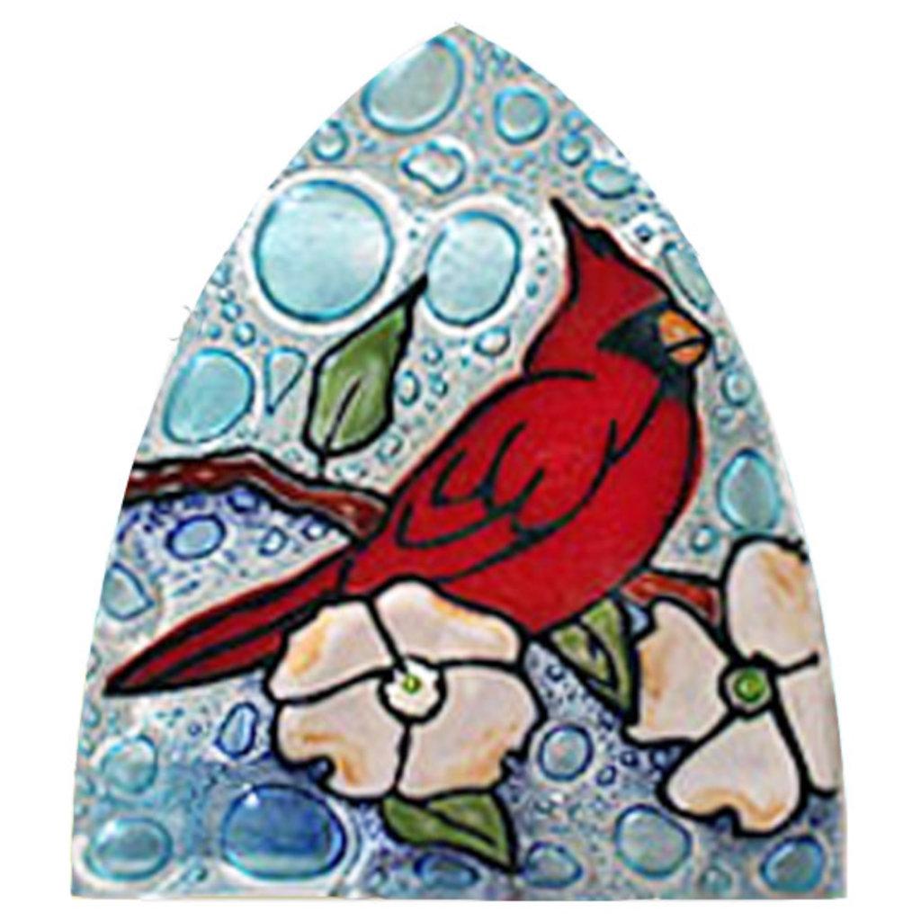 PamPeana Cardinal in Dogwood Fused Glass Night Light