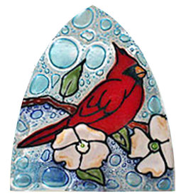 PamPeana Cardinal in Dogwood Fused Glass Night Light