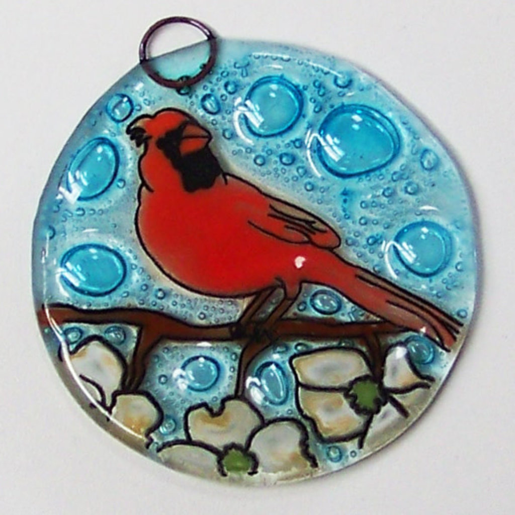 PamPeana Cardinal in Dogwood Fused Glass Ornament