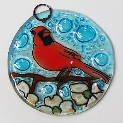 PamPeana Cardinal in Dogwood Fused Glass Ornament