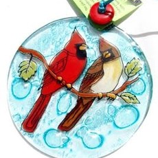 PamPeana Cardinal Pair Fused Glass Ornament