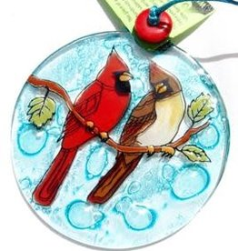 PamPeana Cardinal Pair Fused Glass Ornament