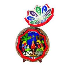 Inter-American Trading Carved Gourd Retablo Nativity XL