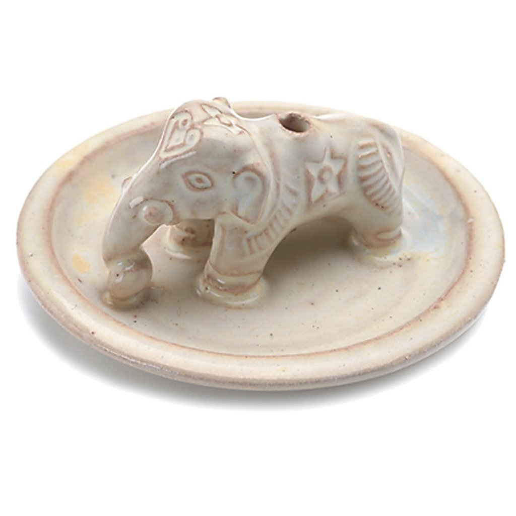 DZI Handmade Ceramic Elephant Incense Burner