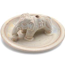 DZI Handmade Ceramic Elephant Incense Burner