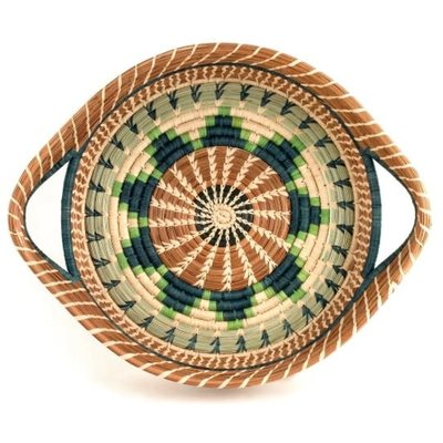 Mayan Hands Chumil Pine Needle and Wild Grass Basket Green