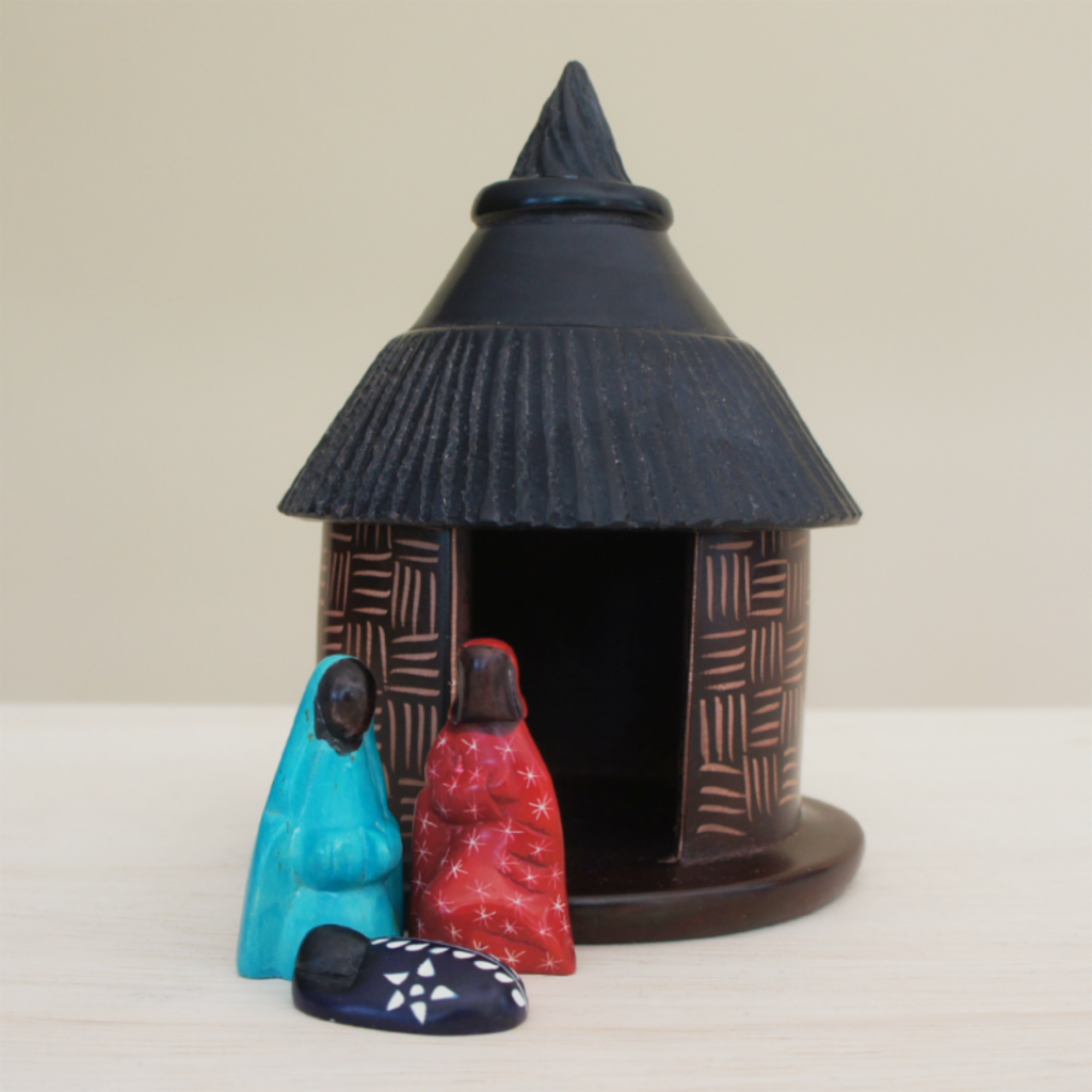 Venture Imports Colorful Soapstone Hut Nativity