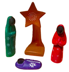 Venture Imports Colorful Soapstone Nativity with Star