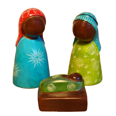 Venture Imports Colorful Three-Piece Soapstone Nativity