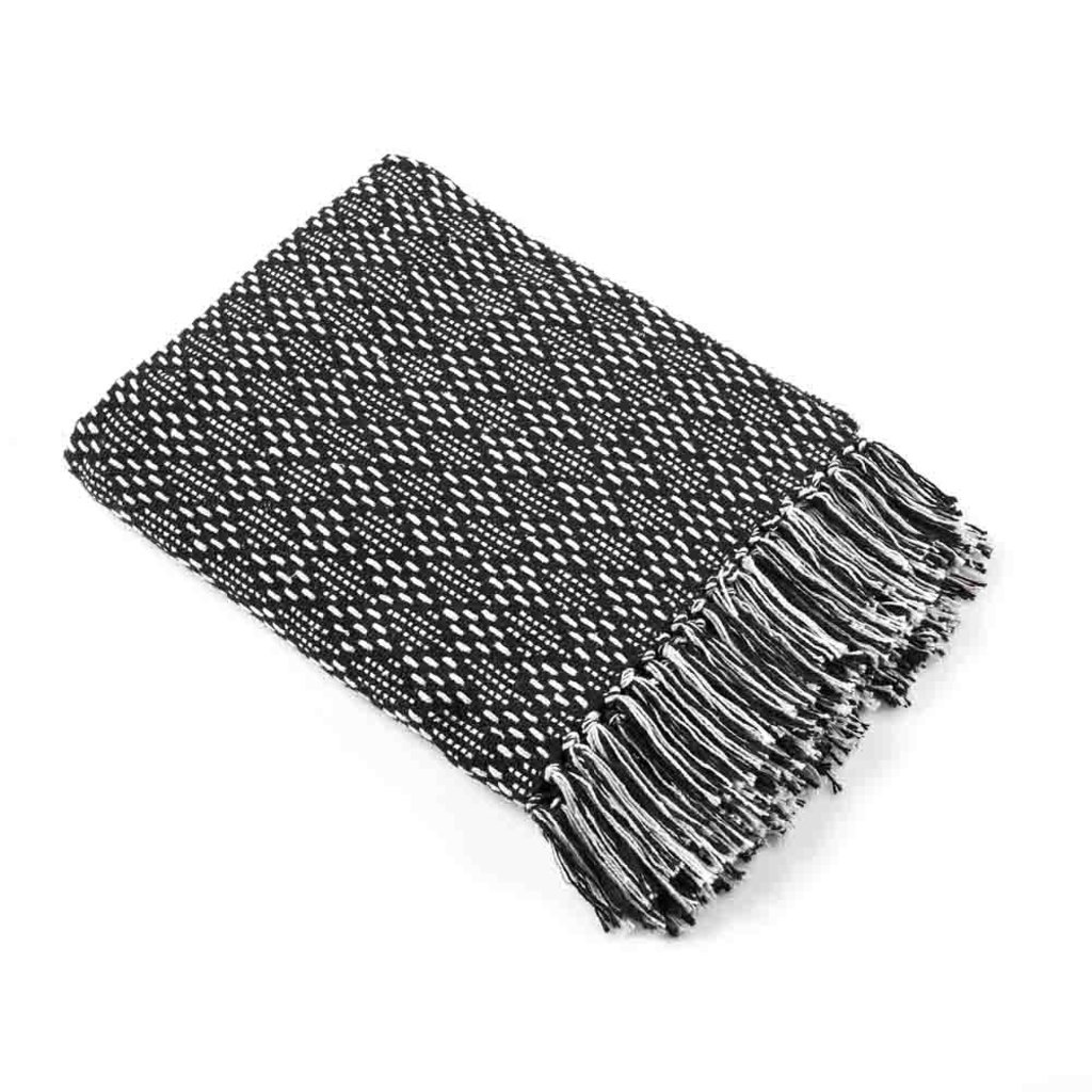 Serrv Cotton Rethread Black Diamond Throw Blanket