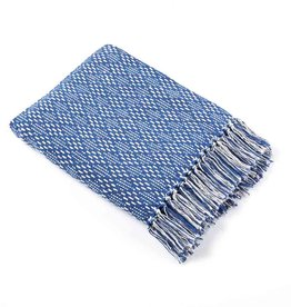 Serrv Cotton Rethread Blue Diamond Throw Blanket