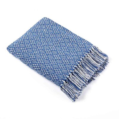Serrv Cotton Rethread Blue Diamond Throw Blanket