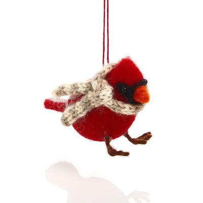 Serrv Cozy Cardinal with Scarf Felt Ornament