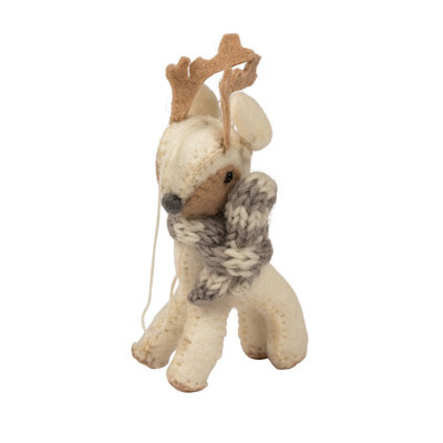 Ten Thousand Villages Cozy Reindeer Felt Ornament