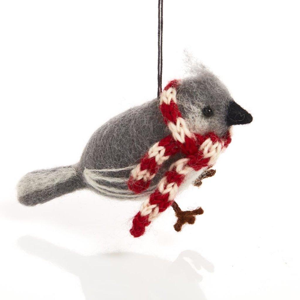 Serrv Cozy Titmouse with Scarf Felt Ornament