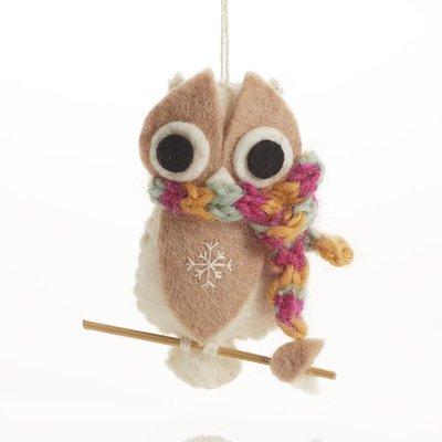 Serrv Cozy White Owl with Scarf Felt Ornament