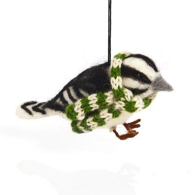 Serrv Cozy Woodpecker with Scarf Felt Ornament