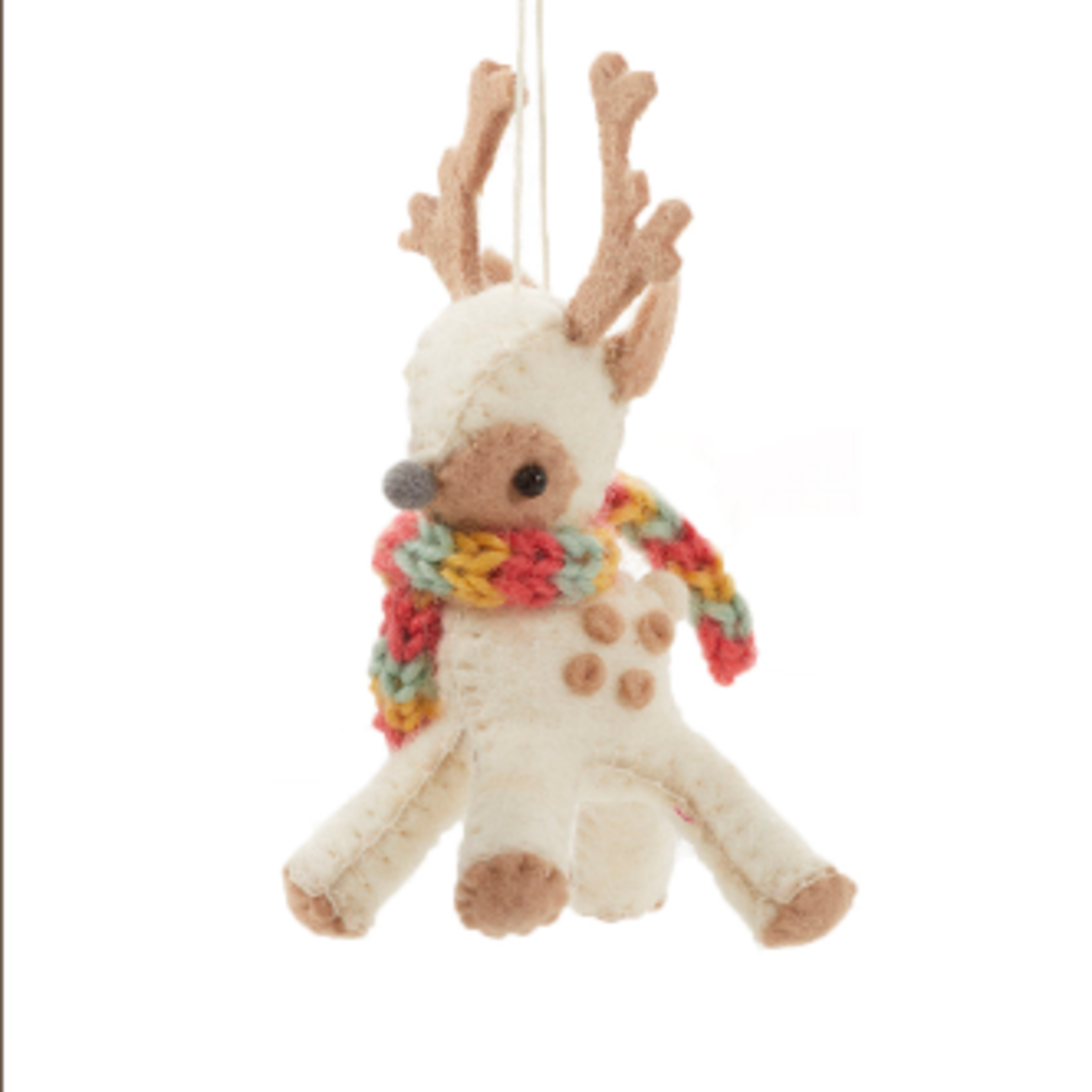 Serrv Cream Reindeer Ornament