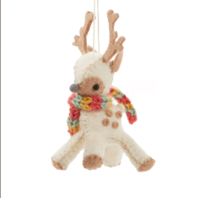 Serrv Cream Reindeer Ornament