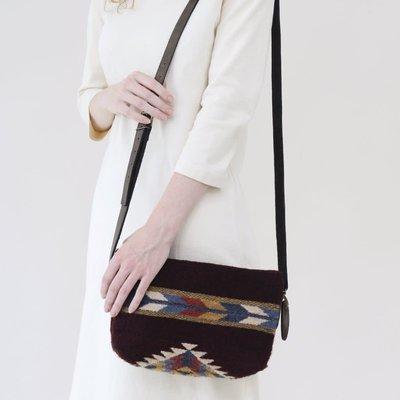 Manos Zapotecas Crimson and Feather Wool Crossbody Bag