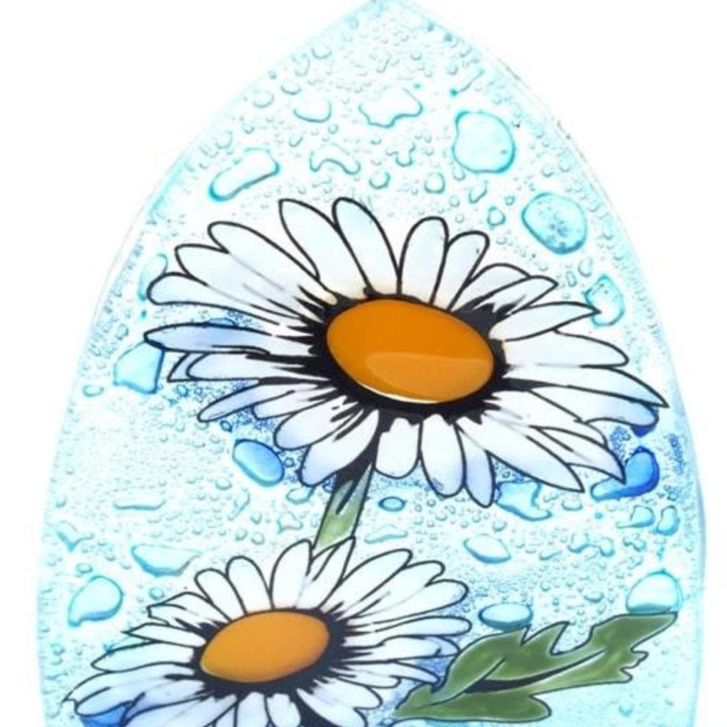 PamPeana Daisy Flower Fused Glass Night Light