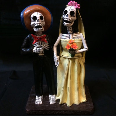 Inter-American Trading Day of the Dead Wedding Couple Calaca